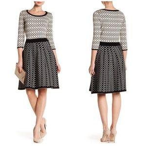 NWT Gabby Skye Fit & Flare Geometric Knit Dress L